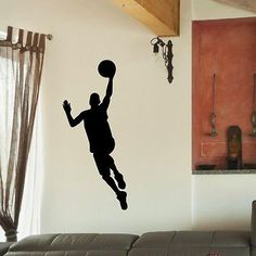 Shop for Basketball Player Wall Art Decal Sticker. Get free delivery On EVERYTHING* Overstock - Your Online Art Gallery Shop! Basketball Room, Sports Basketball, Basketball Players, Wall Stickers Murals, Vinyl Wall Decals, Basket Ball, Gym Fitness, Wood Burning, Office Decor
