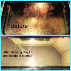 Before and after oven after using H2O at Home cleaning clay kit and scrubber sponge  Www.myh2oathome.com/diannekyle