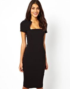 Image 1 of ASOS Pencil Dress In Bengaline With Square Neck