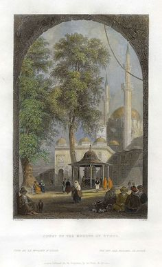 Turkey, Istanbul, Court of the Mosque of Eyoub, 1838