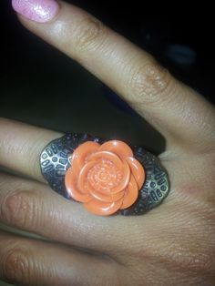 Antique Bronze Metalwork & Orange Resin Rose Ring - size small #bestofEtsy #alternativefashion