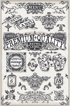Vintage Hand Drawn Graphic Banners and Labels Hand Drawn Fonts, Hand Lettering, Vintage Labels, Vintage Posters, Graphic Design Branding, Logo Design, Ornament Drawing, Retro Logos, Vintage Lettering