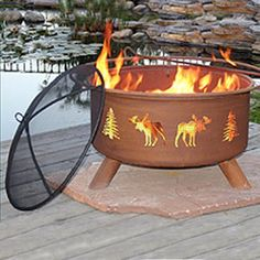 Moose and Tree Patina Fire Pit at Rocky Mountain Decor.