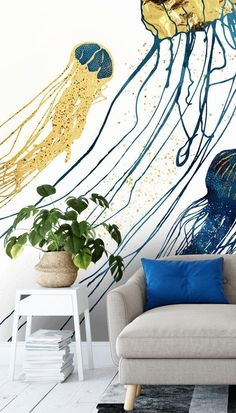 All we can say is WOW when we see this stunning Jellyfish II mural by SpaceFrog Designs! With decadent tones of blue and gold, this beautiful sea life wallpaper will create a sense of luxury in your stylish lounge. Pair it with white, blue and gold room accessories and watch your home come to life! #navyandgoldwallpaper #navyandwhitewallpaper #blueandwhitewallpaper Wallpaper Murals, Gold Wallpaper, Animal Wallpaper, Wall Murals, Blue And White Wallpaper, Vintage Sink, Gold Rooms, What's Your Style, Shades Of Gold
