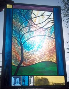 "NEW ""Stormy Moonlit Tree"" Stained Glass Window Panel. $149.00, via Etsy."