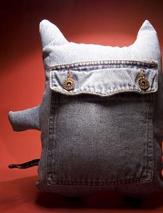 Recycled jeans monster. Super cute!