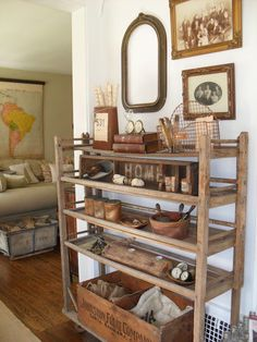 Baker's rack as a shoe and luggage rack. Could also be used for storing quilts/bedding.