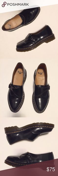 Dr. Martens Agnes Pointed Monk Shoes Size 8. Worn twice, excellent condition!  Built on slim, pointed last drawn from the archives, this lithe monk-strap shoe is an instant icon. Crafted in signature smooth leather, with a glossy polish that puts a new twist on this old favorite. Yellow stitching at the welt adds a bit of irreverence to the classic style. Dr. Martens Shoes Flats & Loafers
