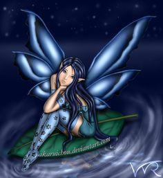Blue Fairy by AkaruiChou on DeviantArt Fairy Dragon, Dark Fairy, Gothic Fantasy Art, Fantasy Creatures, Blue Fairy, Fairy Wallpaper, Gothic Fairy, Pixies Fairies, Deviantart Fantasy