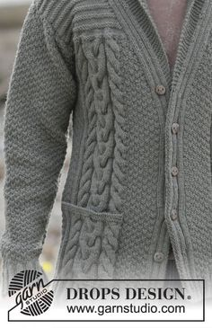 """Finnley - Knitted DROPS men s jacket with cables and shawl collar in """"Lima"""". 599c5249173"""