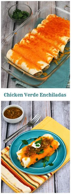 Chicken verde enchiladas are a fast, delicious way to use up leftover chicken. Add a little fiesta to your #WeekdaySupper! theredheadbaker.com