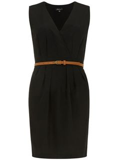 Black pleated wrap dress
