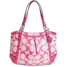 """ALEXANDRA CHAIN PINK SIGNATURE TOTE COLOR: Pink Approx: 16 1/4"""" (L) x 10 3/4"""" (H) x 5 1/2"""" (W)  Handles with 10 1/2"""" drop. Signature fabric with pink leather trim Generously sized outside slip pocket  Inside zip, cell phone and multi-function pockets Zip-top closure, khaki sateen fabric lining  NWOT Coach Bags Shoulder Bags"""