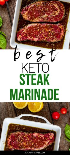 This is the BEST Keto Steak Marinade! This homemade low carb recipe is easy to make and is always a crowd pleaser. It works just as well for a weeknight meal as it does a holiday roast. This quick and simple recipe is the perfect way to elevate most any cut of beef. Gluten Free Recipes For Breakfast, Healthy Gluten Free Recipes, Gluten Free Dinner, Keto Dinner, Low Carb Recipes, Keto Steak Recipe, Steak Marinade Recipes, Holiday Recipes, Dinner Recipes
