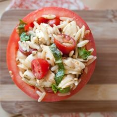Orzo Caprese Salad in Tomato Cups