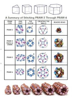 Prismatic Right Angle Weave (PRAW) illustrations and sample beadwork  ~ Seed Bead Tutorials