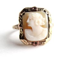 Antique 10K Rose & Yellow Gold Cameo Ring   by MaejeanVINTAGE, $210.00