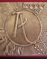 Pewter Sampler and a . Copper Bookmark too! Metal Projects, Metal Crafts, Recycled Crafts, Embossing Stamp, Metal Embossing, Pewter Art, Pewter Metal, Aluminum Foil Art, Soda Can Crafts