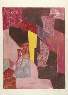 """Serge Poliakoff - Lithographie, 1958 """"Composition Rouge Carmin et Jaune"""" Signée à la main par l'artiste et annotée Épreuve d'artiste Dimensions image 64 x 49 cm Dimensions planche 76 x 56,5 cm"""