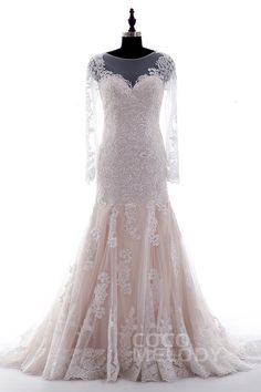 Trumpet-Mermaid+Illusion+Natural+Court+Train+Lace+Ivory/Champagne+Long+Sleeve+Zipper+with+Button+Wedding+Dress+CWXT14051