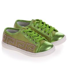 Girls Green Satin Lace-Up Trainers with Diamante