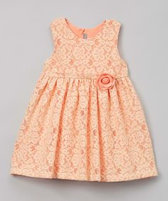 Look what I found on #zulily! Orange Lace Flower Appliqué Sleeveless Dress - Infant & Toddler by Les Petits Soleils by Fantaisie Kids #zulilyfinds