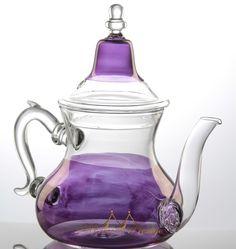 Moroccan hand blown purple glass teapot