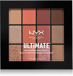 NYX Professional Makeup Ultimate Multi-Finish Shadow Palette - twelve expertly coordinated shades of our creamy-rich eyeshadows. Available in four color combinations, each palette features a vivid selection of finishes. Shimmer Eyeshadow Palette, Nyx Eyeshadow, Metallic Eyeshadow, Eyeliner, Nyx Palette, Metallic Makeup, Liquid Lipstick, Make Up Palette, Wedding Makeup For Brown Eyes