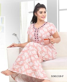 Trendy vol 318 fancy cotton nighty catalog wholesale price surat BOOK CATALOGUE Trendy vol 318 fancy cotton nighty catalog wholesale price surat ON KAPDAVILL. Sexy Night Dress, Night Dress For Women, Fancy Kurti, Fancy Sarees, Cotton Nighties, Cotton Dresses, Kurta Neck Design, Fancy Gowns, Printed Gowns