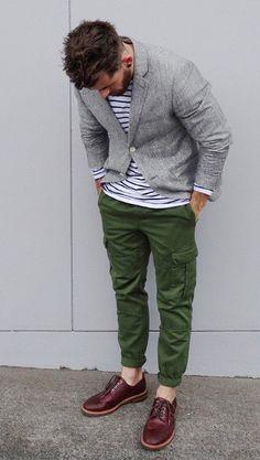 Men's Grey Blazer, White Horizontal Striped Crew-neck Sweater, Dark Green Cargo Pants, and Burgundy Leather Brogues