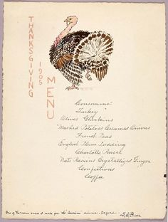 Smithsonian Snapshot celebrates the Thanksgiving season with this 1905 Thanksgiving menu by George Elbert Burr from the Smithsonian American Art Museum and the Renwick Gallery Vintage Thanksgiving, Thanksgiving Parties, Thanksgiving Sides, Thanksgiving Recipes, Happy Thanksgiving, Thanksgiving Blessings, Favorite Holiday, Holiday Fun, Holiday Foods