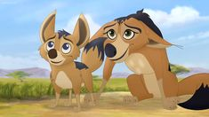 Here is a shot of Dogo and Reirei from The Lion Guard. Reirei and her jackal family is playing innocence to The Lion Guard. The Lion Guard Reirei The Lion King 1994, Le Roi Lion, Disney Lion King, Disney Animation, Character Illustration, Storyboard, Good Movies, Pikachu, Star Wars