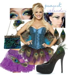 "A sexy fun peacock Halloween costume, featuring a dress, petticoat, and pair of pumps from our Costumelicious store!  ""Sexy Peacock Halloween Costume"" by costumelicious on Polyvore    #Peacock #PeacockCostume"