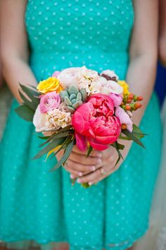 flowers on a turquoise dress