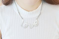 W054 / Matt Gold or Silver / Love Necklace by BeadsPool on Etsy