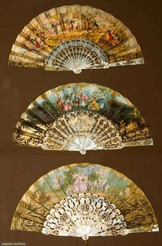 Three Gilt and Paper Fans, mid-19th century; All with painted paper leafs and abalone sticks and guards