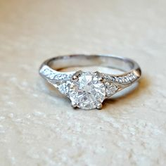 Vintage 1.34 carat Diamond Engagement Ring by CypressCreekVintage
