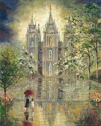 Salt Lake Temple in the rain.