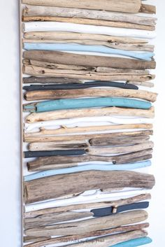 DIY Coastal Decor Painted Driftwood Wall Art Create a beautiful coastal art piece for your wall using driftwood and a cool mix of blues white and grey paint. The post DIY Coastal Decor Painted Driftwood Wall Art appeared first on Wood Ideas. Painted Driftwood, Driftwood Wall Art, Driftwood Projects, Driftwood Beach, Wall Wood, Driftwood Ideas, Decorating With Driftwood, Wood Walls, Diy Projects