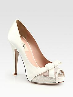 Beautiful and ladylike. The perfect white pumps.    Valentino Satin and Lace Platform Pumps