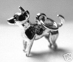 3d chihuahua charm dog puppy sterling silver 925 charm Real Sterling silver 925 pendant Charm jewelry