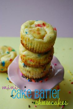 this looks awesome for a quick treat! Another Yummy Idea from The Domestic Rebel . . .http://thedomesticrebel.com/2012/04/07/mini-cake-batter-cheesecakes/