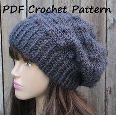 CROCHET PATTERN!!! Crochet Hat - Slouchy Hat, Crochet Pattern PDF,Easy, Pattern No. 60 on Luulla