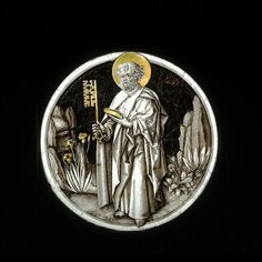 A German (possibly) stained-glass roundel, c.1480-85, depicting St Peter with his main symbolic attribute: a key (to heaven). (Victoria & Albert Museum)