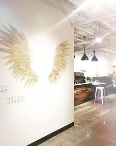 Angel Wing Mural by Katelyn Morse Fine Art seen at Coffee, Lower Sackville Angel Wings Painting, Angel Wings Wall Art, Mural Art, Wall Murals, Home Yoga Room, Entertaining Angels, Instagram Wall, Wing Wall, Coffee Painting