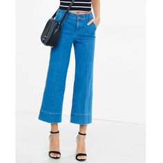 Express High Waisted Cropped Wide Leg Jeans ($49) ❤ liked on Polyvore featuring jeans, blue, express jeans, boyfriend jeans, high waisted boyfriend jeans, high waisted jeans and high-waisted jeans