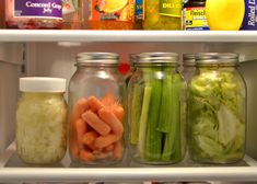 Store produce in mason jars in the fridge. Not only does it last longer (much longer!) But the inside of my fridge is much more colorful and eye catching!