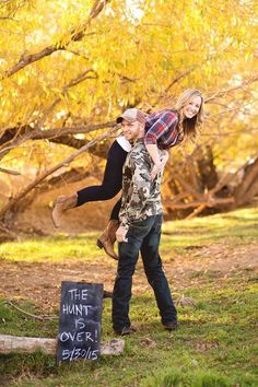 The Hunt is Over Save the Date: It's hunting season and you got a good one! Let your personalities shine in your fall save the dates with this creative idea.   Fall Wedding Save the Date Ideas