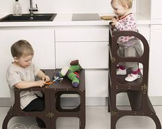 """Little helper tower / table / chair all-in-one """"Step'n'sit"""", Montessori learning stool, kitchen step stool"""