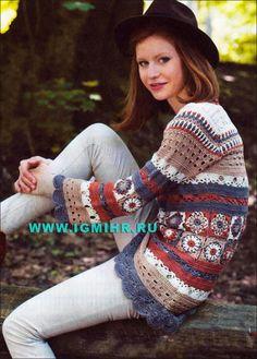 Разноцветный пуловер из квадратов и декоративных узоров. Крючок